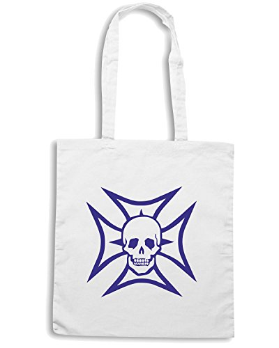 T-Shirtshock - Borsa Shopping FUN0426 1821 maltese cross and skull decal 51230 Bianco