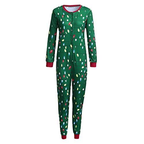 Amphia - Langarm Weihnachten - Familienkleidung Pyjamas,Frauen-Mamma beleuchtet Brief-Spielanzug-Overall-Familien-Pyjamas-Weihnachtskleidung(Mutter,S)