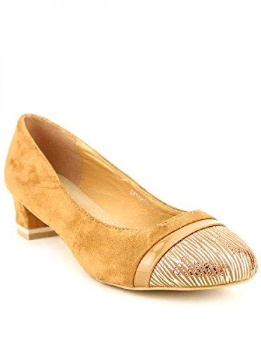 Cendriyon, Escarpin peau simili cuir SOLNA Chaussures Femme Caramel