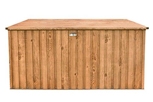 Tepro Metall-Gerätebox Kissen-Box Garten-Schrank 1450 Liter Gartentruhe in Eiche Holz-Optik