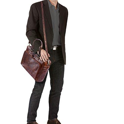 b3cc5b9f3d STILORD 'Jon' Borsa lavoro uomo in vera pelle vintage Grande borsa a tracolla  Cartella ...