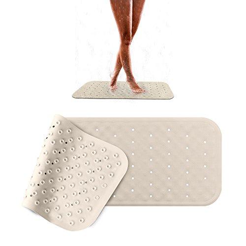 Pumpko® Rutschfeste Badewanneneinlage aus Naturkautschuk | 36 x 97cm | Beige | Extra-Lange Badewannenmatte | Anti-Rutschmatte für Badewanne