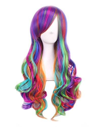 (Perücke Pink Langhaar Perücken lockige Haare Schwarz ca. 90cm Cosplay Kostüm für Karneval Halloween (bunt))
