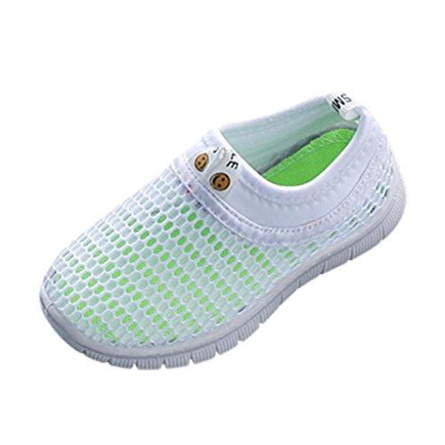 SOMESUN Fashion Baby Jungen Mädchen Schuhe Kinder Jugendliche Süßigkeiten Farbe Stoff Mesh Beiläufig Weich Atmungsaktiv Elastisch Sport Turnschuhe (EU22, Weiß)