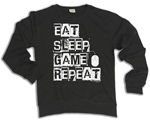 Eat Sleep Game Repeat PC Mouse Wahl von Hoodie oder von Strickjacke Herren Damen (Sweater) Black