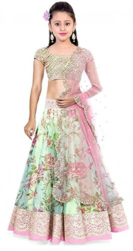 Cad Fashion Girls Ethnic Wear Embroidered Lehenga, Choli and Dupatta Set (semi-stiched) (Light green)