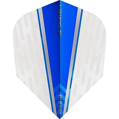 Target Vision Ultra Dart Flights–mit Chevron Grip–Weiß Flügel blau–1set (3)–GRATIS Darts Ecke gebogen (Dart Flügel)