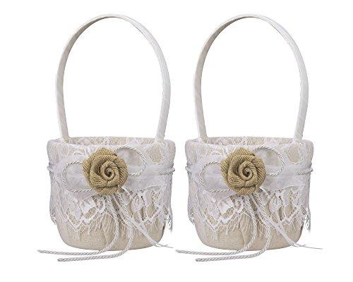 2 Stück Vintage Jute Schleife Hochzeit Blumenmädchen Korb Blumenkinderkörbchen