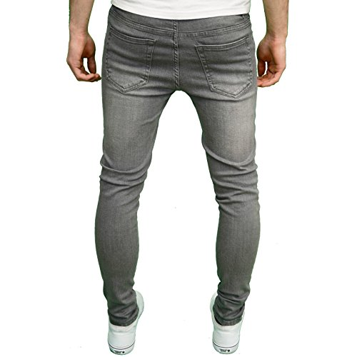 Enzo Designer-Herren-Jeans, Skinny Fit, Stretchmaterial Grau - Grau