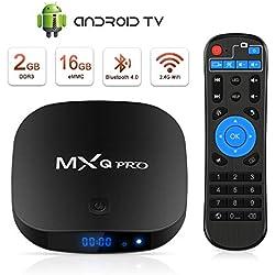 Android TV Box Boîtier TV 3D+4K [2019 Dernière Version] Mxq Pro Android Smart TV, avec HD/H.265 / 4K / 3D / BT4.0