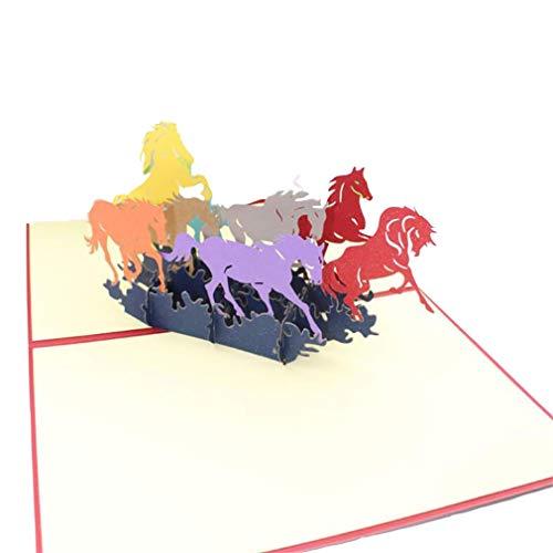 MOONQING Pferd Laufen 3D Pop Up Weihnachtsgrußkarte Geburtstag Neujahr Einladungskarte Papier Schneiden Postkarte Valentines Party Geschenk
