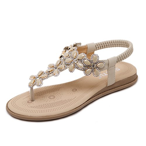 Belloo Frauen Sommer Boho PU Leder Flach Sandalen Zehentrenner,Aprikose,39 (Fashion-sandalen Damen Pu)