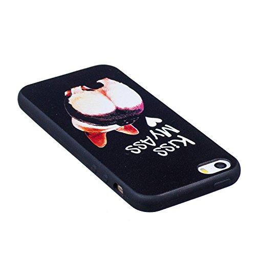 Cover per iphone 5S/5 iphone SE Silicone Morbida ,OYIME [Carino Panda] Disegni in Rilievo Vivace Colorato Creative con Nero Bordi Custodia per Apple iphone 5/5S/SE Flessibile Sottile Originale Elegant Cane