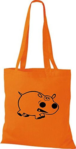 Shirtstown Pochette en tissu Animaux Hippopotame Orange - Orange