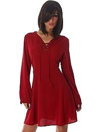 Jela London Damen Kleid Bluse Tunika Lang Langarm V-Ausschnitt Minikleid Schnüre Retro