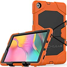 """TECHGEAR G-SHOCK Case Fits New Samsung Galaxy Tab A 10.1"""" 2019 (SM-T510 / SM-T515) Tough Rugged HEAVY DUTY Armour Shockproof Survival Case with Stand - Kids Schools Builders Workman Case - ORANGE"""