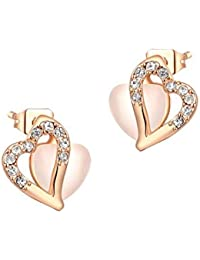 18K Rose Gold Plated All My Love Heart Earrings For Woman By AwesomeJi