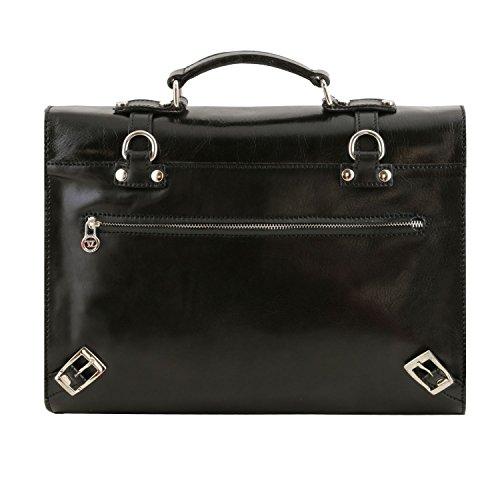 Tuscany Leather Viareggio - Exklusive Laptop Aktentsche aus Leder mit 3 Fächer - TL141558 (Schwarz) Schwarz