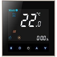 Qiumi Termostato Wifi para calefacción individual de calderas de gas/agua funciona con Alexa, Google Home, Contacto seco 5A 95~240V AC Panel negro Fuente de color(Brillo ajustable)