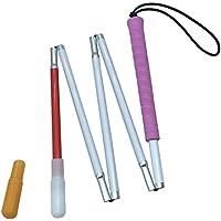 Aluminio Bastón Blanco para Ciegos y Baja Vision Plegable 5 Secciones con 2 Punta (Mango de Rosado, 130 cm (51.2 Pulgada))