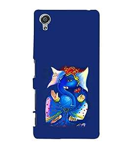 Print Masti Designer Back Case Cover for Sony Xperia X :: Sony Xperia X Dual F5122 (Swastik Lotus Teeth Ear om Blue Background)