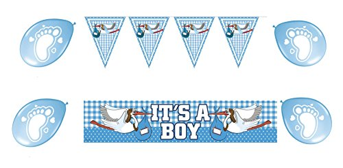 3 Teile Set : Wimpel Kette - Folien Banner - Ballons- Baby- Taufe - Neugeburt- Baby shower - it´s a boy - welcome Boy Party / werdende Mama Eltern Party / Motto Party Set- Junge (Boy Motto-partys)