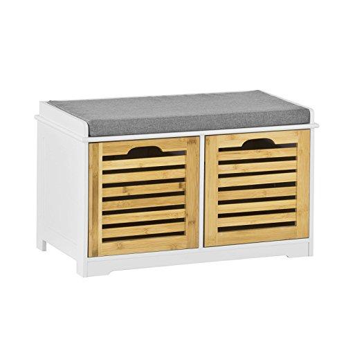 SoBuy Moderne Schuhtruhe,Sitzkommode mit 2 Körben,Sitzbank, Schuhschrank mit Sitzkissen,Spieltruhe, FSR23-K-WN
