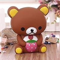 brandyjacksonq Cartoon Bear Coin Piggy Bank Money Box Desktop Decoration Gift Kids Gift(Coffee)