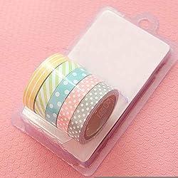 Mflbefulmel - Cinta adhesiva de 5 rollos con lunares a rayas para manualidades, decoración, decoración del hogar, planificadores, álbumes de recortes, regalos Small