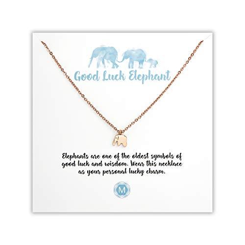 MURANDUM Geschenk Kette für Elefantenliebhaber   Good Luck Elephant Necklace   Damenhalskette mit Elefanten Anhänger inklusive Geschenkkarte   verstellbar (Roségold)