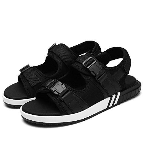 Schwarzes Leder Handgefertigten Sandalen, Nähen, Trend - Komfort, Leiter Schicht, Leder, Beach - Schuhe eu43