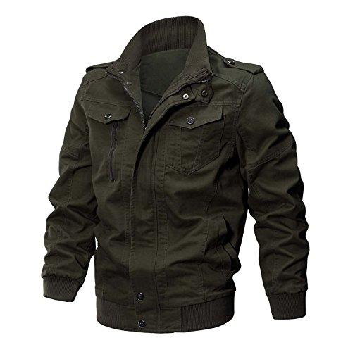KEFITEVD Herren Baumwoll Militär Freizeitjacken Winddichte Feldjacke Stehkragen Jacke Reißverschluss Jacke Armeegrün