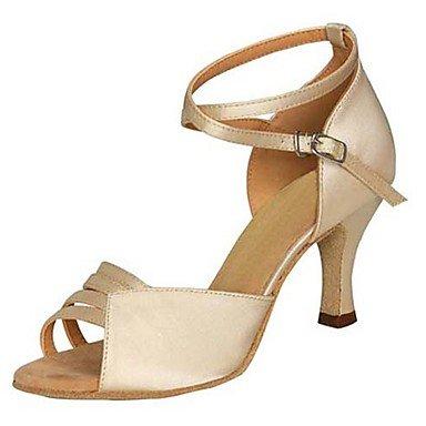 Scarpe da ballo-Personalizzabile-Da donna-Balli latino-americani / Jazz / Salsa / Scarpe da swing-Tacco su misura-Raso / Finta pelle- nude