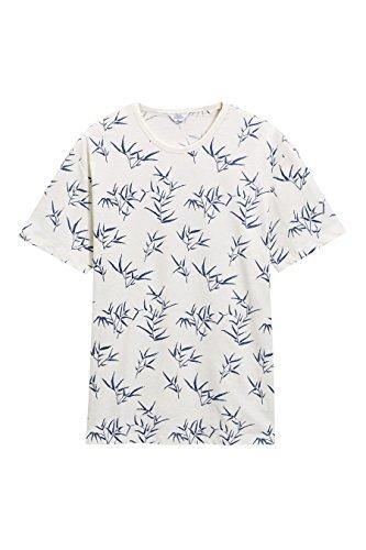 next Herren T Shirt Rundhals Kurzarm Blättermotiv Normale Passform Baumwolle Creme