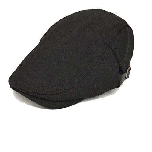 Luck Adulte Homme Béret Chapeau Newsboy Flat Hat Cap Bonnet Duckbill Hiver (Noir)