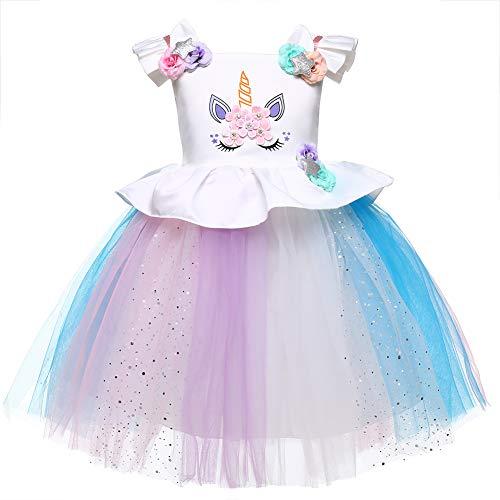 (LZH Baby Mädchen Einhorn Kleid Geburtstag Festzug Prinzessin Tutu Kostüme Regenbogen Ankleiden)
