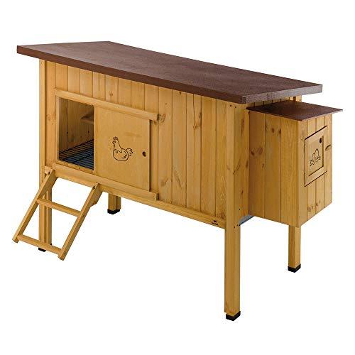 Ferplast 57096000 Hühnerstall HEN HOUSE 30, für bis zu 6 Hennen, Holzkonstruktion, Maße: 162 x 100 x 110 cm