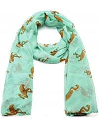 Turquoise Flamingo Print Wide Scarf