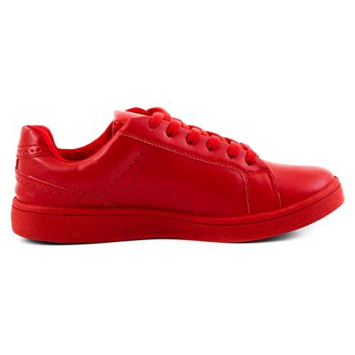 Super Trendige Vollfarbige Color Damen Schnür Sneaker in verschiedenen Farben Rot