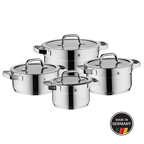 WMF Compact Cuisine - Batería de cocina 4 piezas, con tapa de cristal, cazo con mango, acero inoxidable...