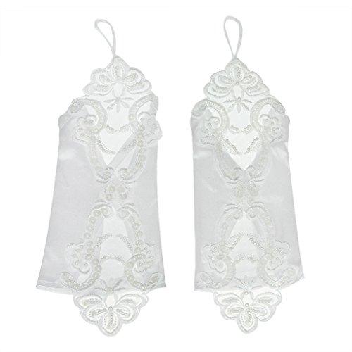 BXT Premium Brauthandschuhe aus Spitze mit Fingerlose Hochzeithandschuhe Satin Handschuhe für Hochzeit Abend Party in Verschiedene Farbe, Lang