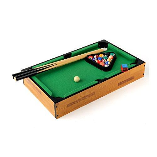Mini Mesa de Billar 46 cm x 28 cm x 7,5 cm Mesa de madera MDF Durable Juego de Snooker Incluye bolas de Billar, Tacos, Tiza, Cepillo y triángulo Regalo Divertido para Toda la Familia