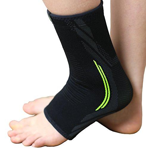 Leisegrün Sprunggelenkbandage - Stützt den Fuß beim Sport wie Fußball, Handball, Volleyball, atmungsaktive Fußgelenkbandage für Damen, Herren & Kinder, rechts & Links tragbar, schwarz