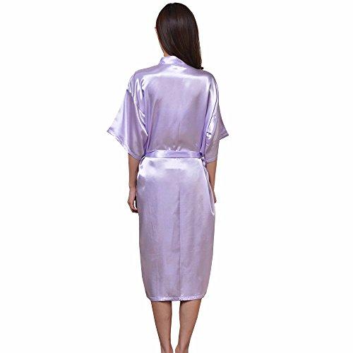 DELEY Unisexe Couple Femmes Doux Chaud Kimono Satin Soie Peignoir Vêtements De Nuit Robe de Chambre Déshabillé Pyjama Violet