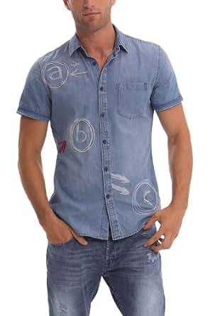 Desigual - dobes - chemise casual - coupe droite - homme - bleu (jeans) - FR : L