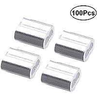 ounona 100Stück 2mm Aluminium Crimpen Loop Sleeve für Kabel Seil und (Sliver)