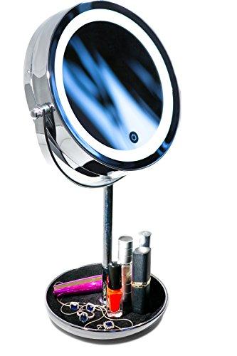 Espejo Cosmético Luz LED Aumento Doble Cara 10X –
