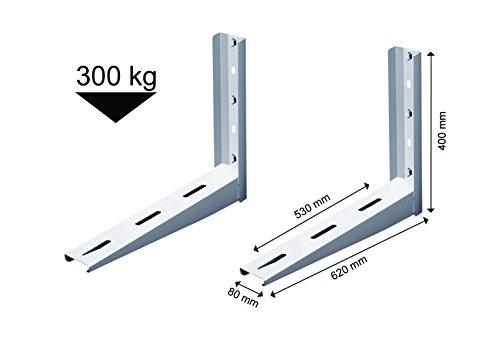 Michl Technik MTMS503 Wandkonsole Halterung Wärmepumpe, Klimagerät, Klimaanlage 300 kg Weiß