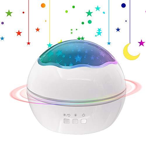 [Neuste] Sternenhimmel Projektor Kinder Drehende Lampe, Sunvito Sternenprojektor Nachtlichter für Baby Zimmer Decorative Geschenk Weihnachten Geburtstag Party