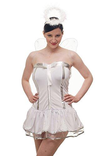 Kostümset Damenkostüm Kleid : Sexy Engel Angel Engelchen Unschuld Ballerina - weißes Kleid mit Flügeln und Heiligenschein (Hot Comic Con Kostüme)